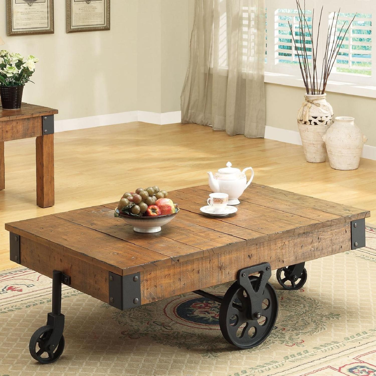 Whimsical Distressed Country Wagon Coffee Table - image-1