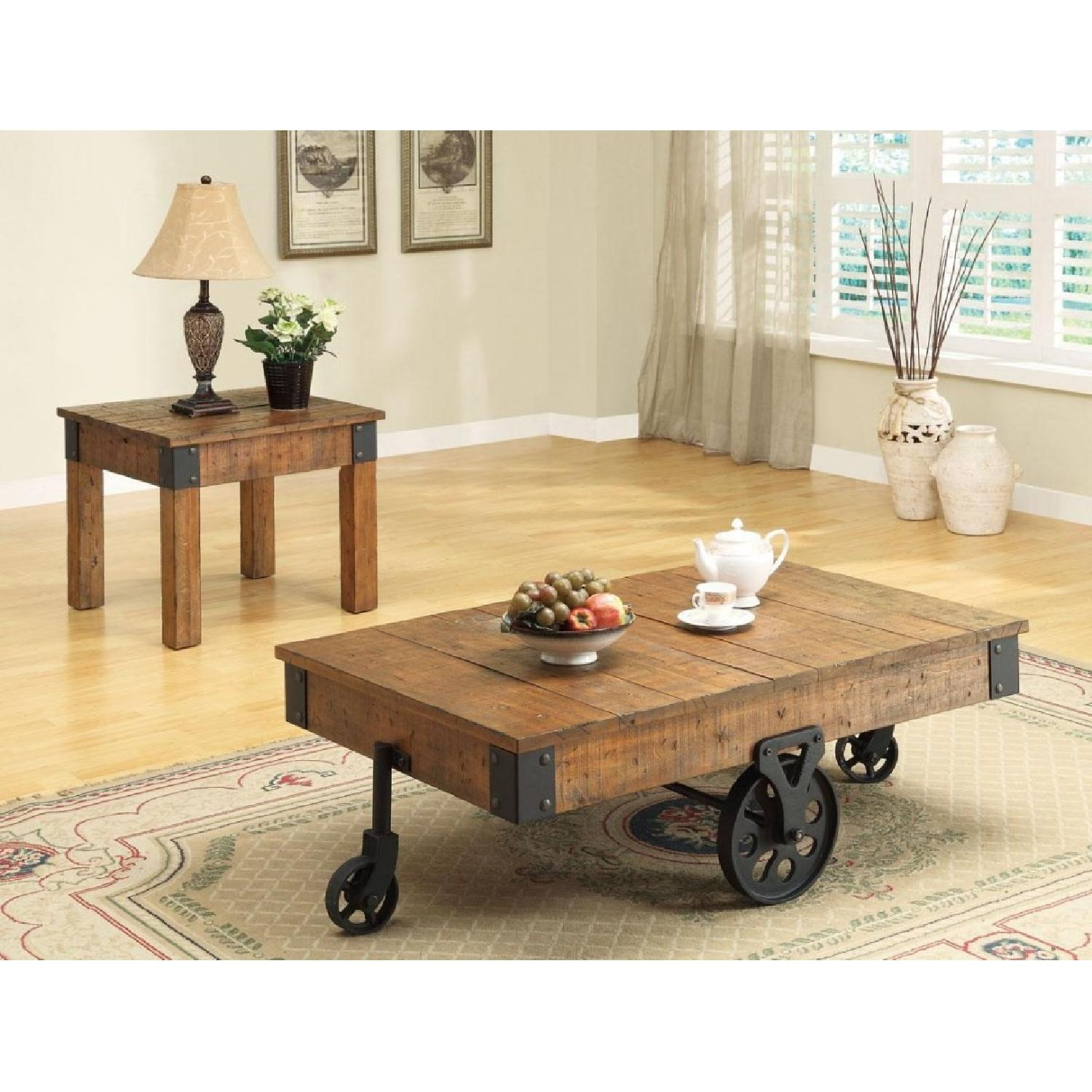 Whimsical Distressed Country Wagon Coffee Table - image-2
