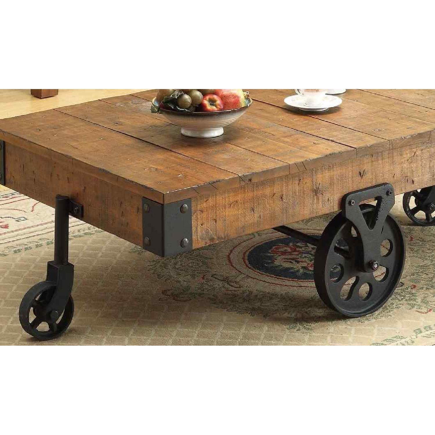 Whimsical Distressed Country Wagon Coffee Table AptDeco