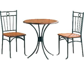 3-Piece French Country Style Dinette Set w/ Solid Wood Top & Metal Frames