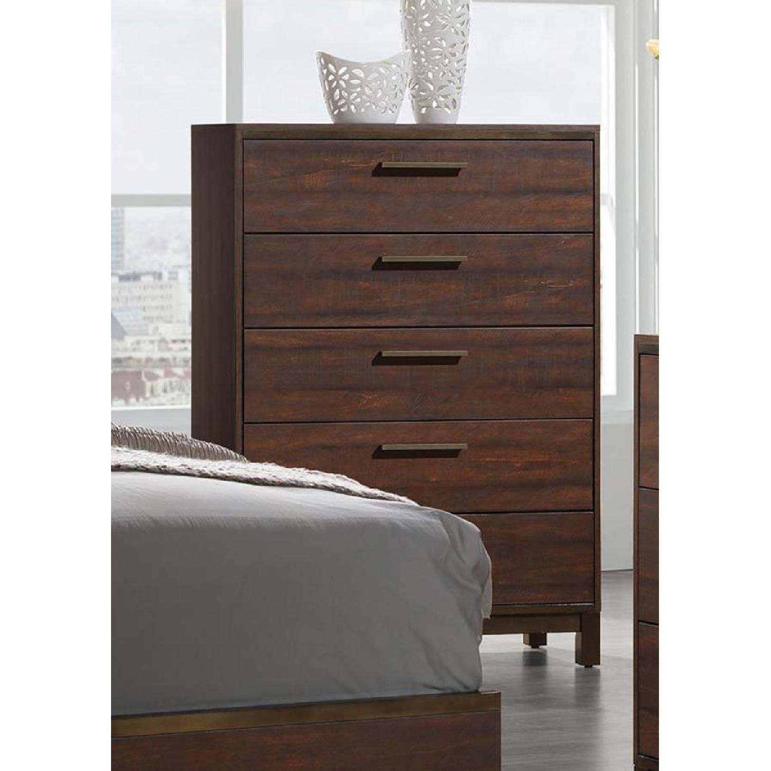 Modern 5-Drawer Chest in Rustic Tobacco Finish - image-0