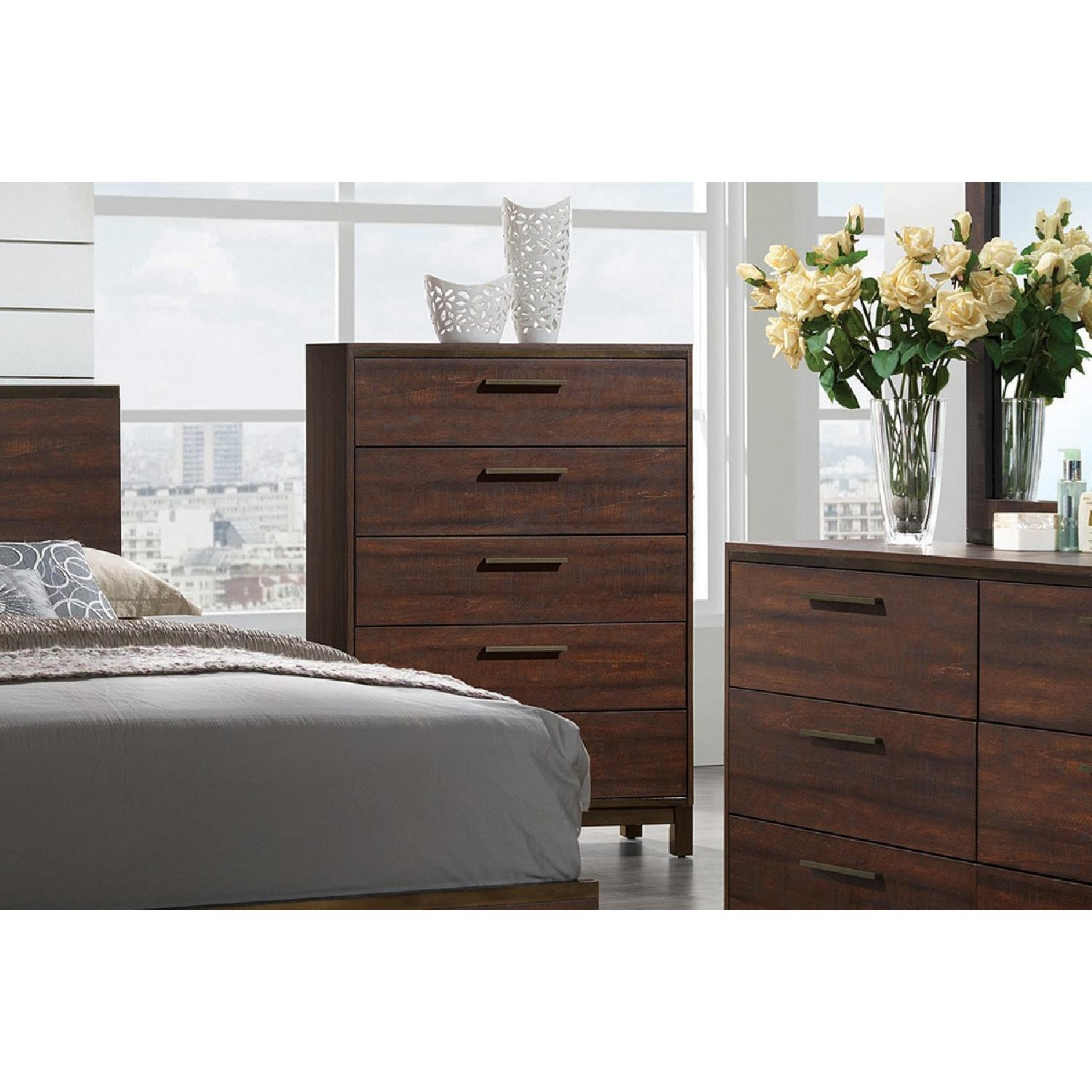 Modern 5-Drawer Chest in Rustic Tobacco Finish - image-1