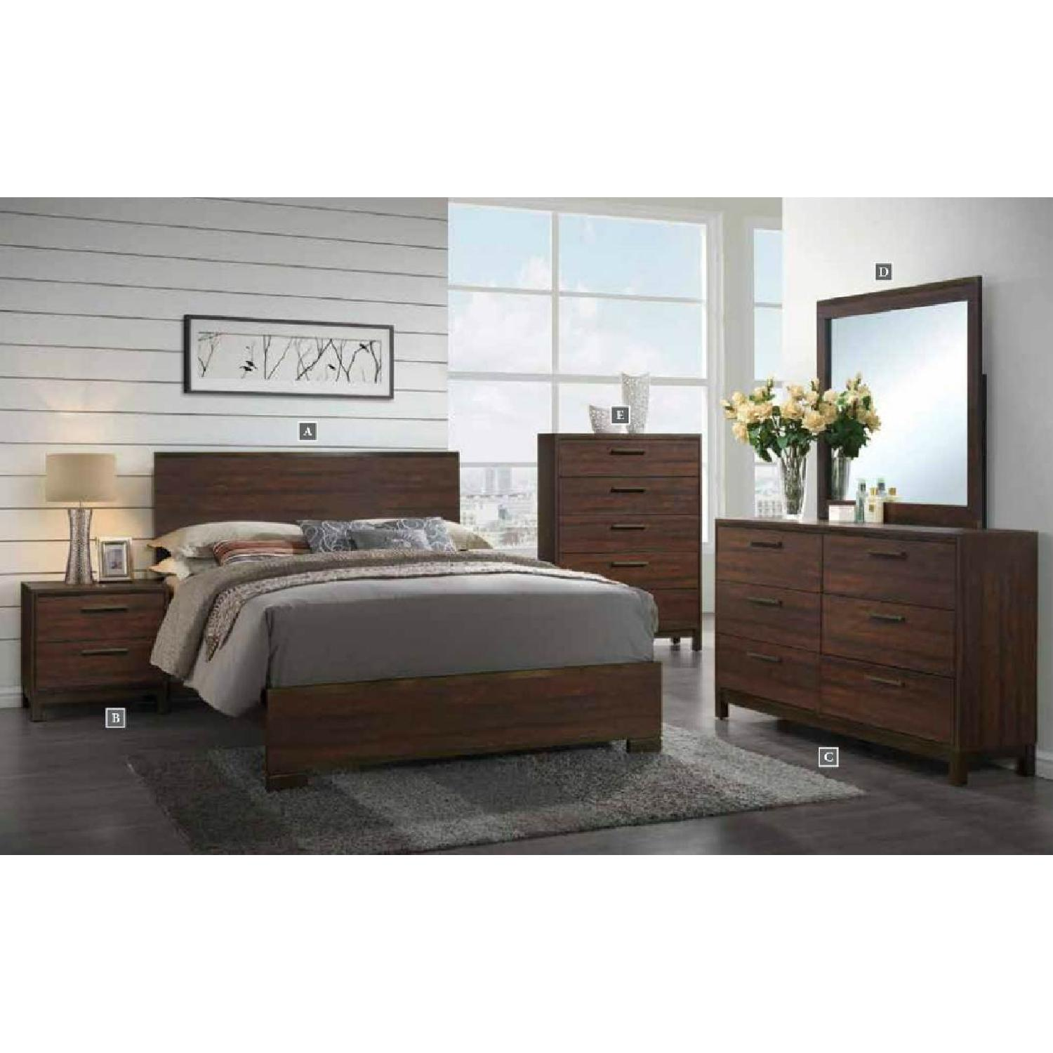 Modern 5-Drawer Chest in Rustic Tobacco Finish - image-2