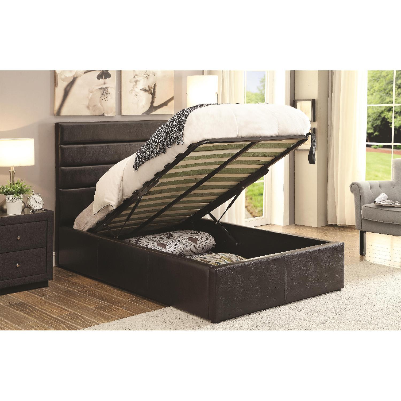 Modern Twin Size Lift-Up Storage Platform Bed Upholstered in Black Leatherette - image-0