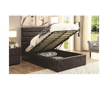 Modern Twin Size Lift-Up Storage Platform Bed Upholstered in Black Leatherette