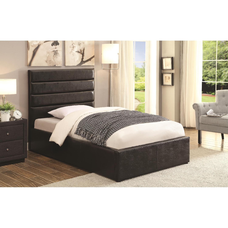 Modern Twin Size Lift-Up Storage Platform Bed Upholstered in Black Leatherette - image-1