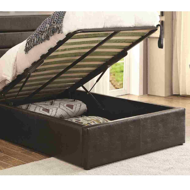 Modern Twin Size Lift-Up Storage Platform Bed Upholstered in Black Leatherette - image-2