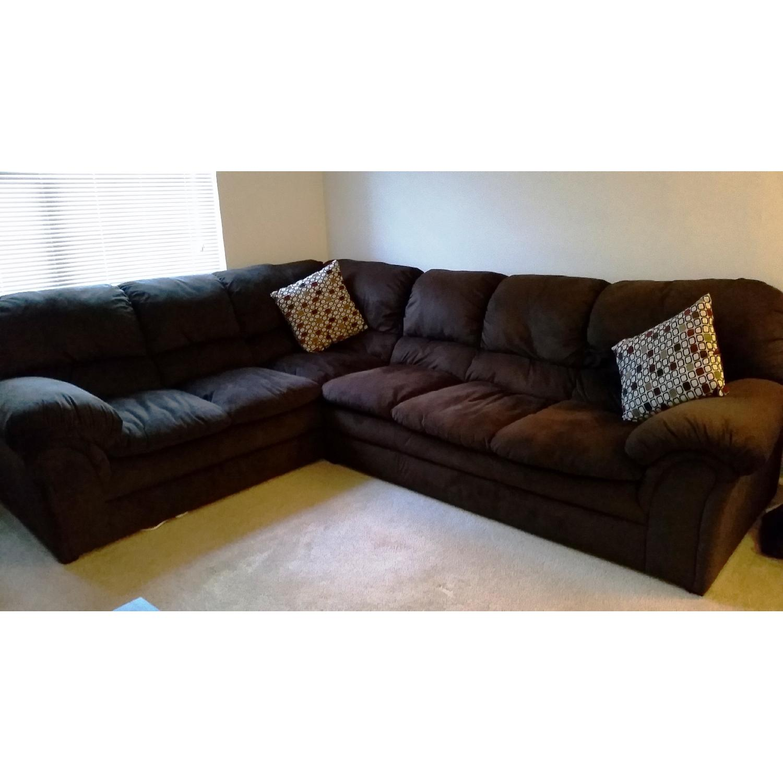 Chocolate-Brown Corner Sectional Sofa - image-1