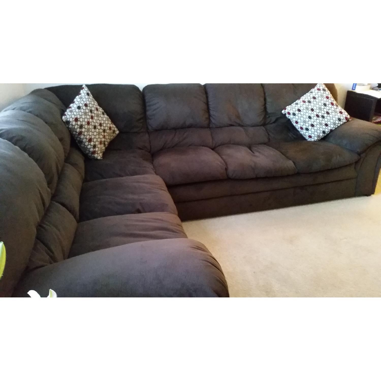 Chocolate-Brown Corner Sectional Sofa - image-2