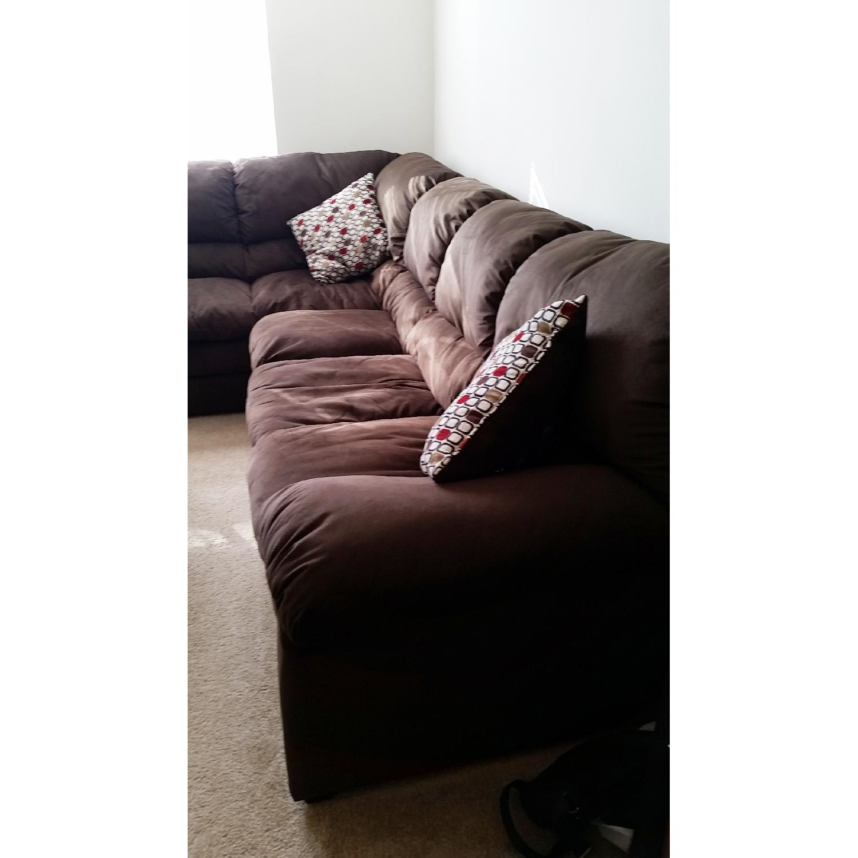 Chocolate-Brown Corner Sectional Sofa - image-3