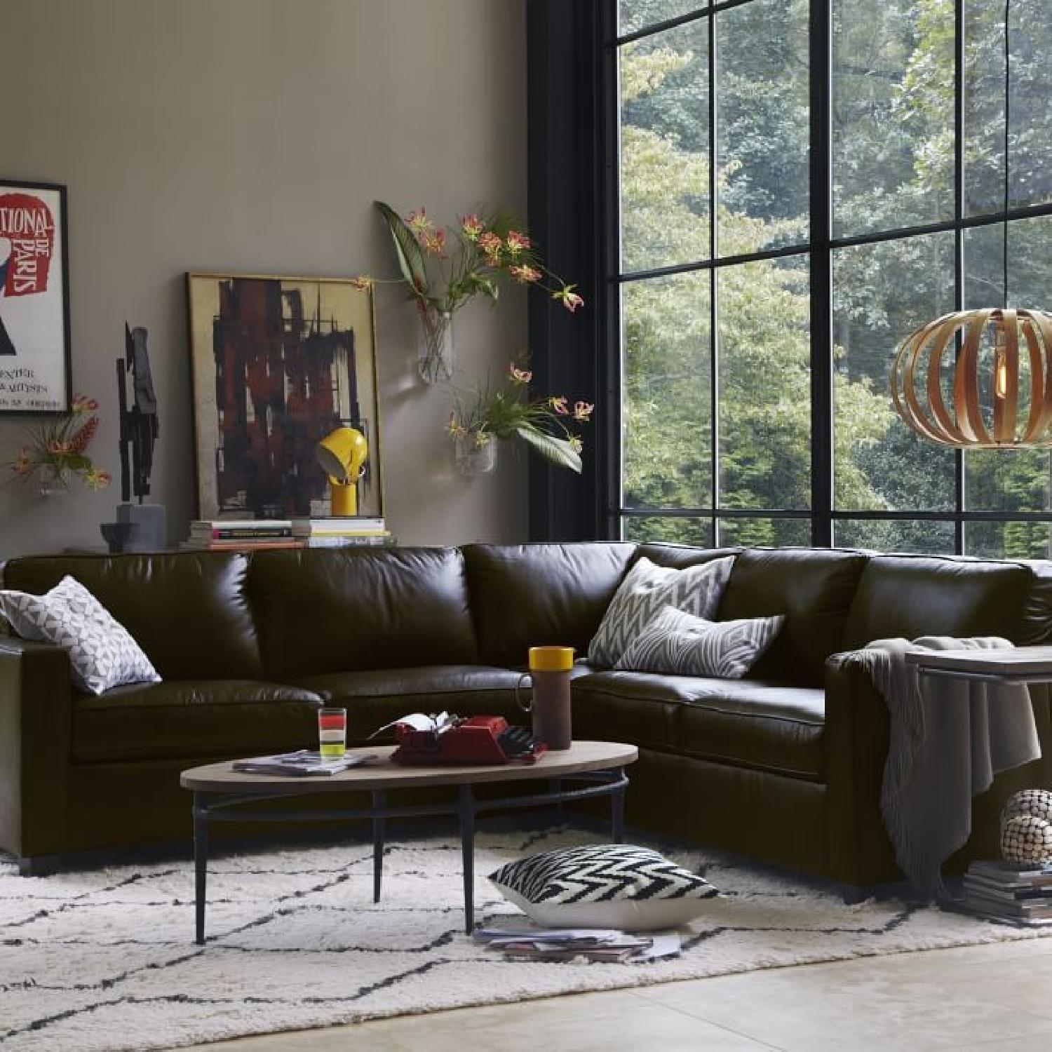 West Elm Henry Leather Sectional - image-1