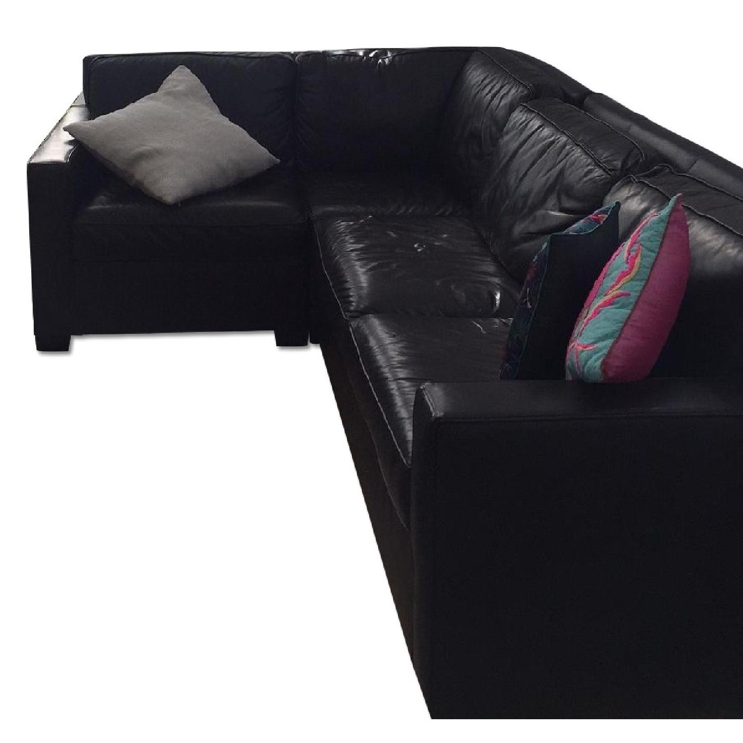 West Elm Henry Leather Sectional - image-0