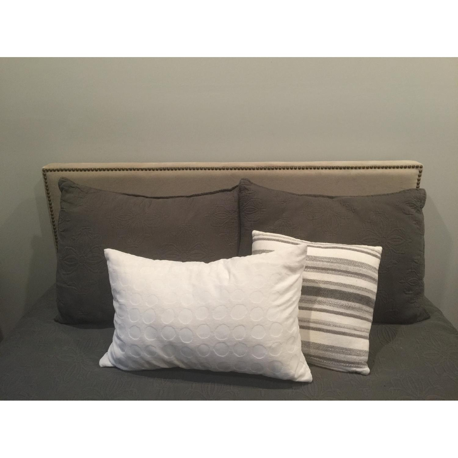 West Elm Full Size Nailhead Upholstered Headboard - image-2