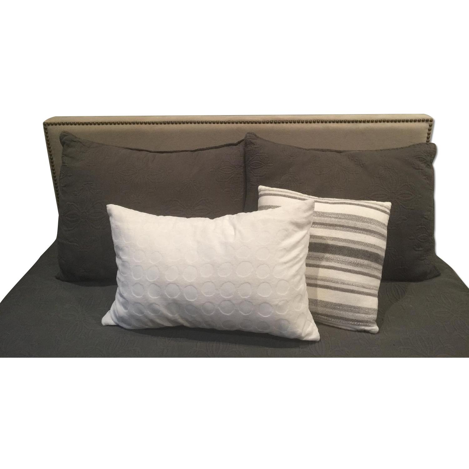 West Elm Full Size Nailhead Upholstered Headboard - image-4