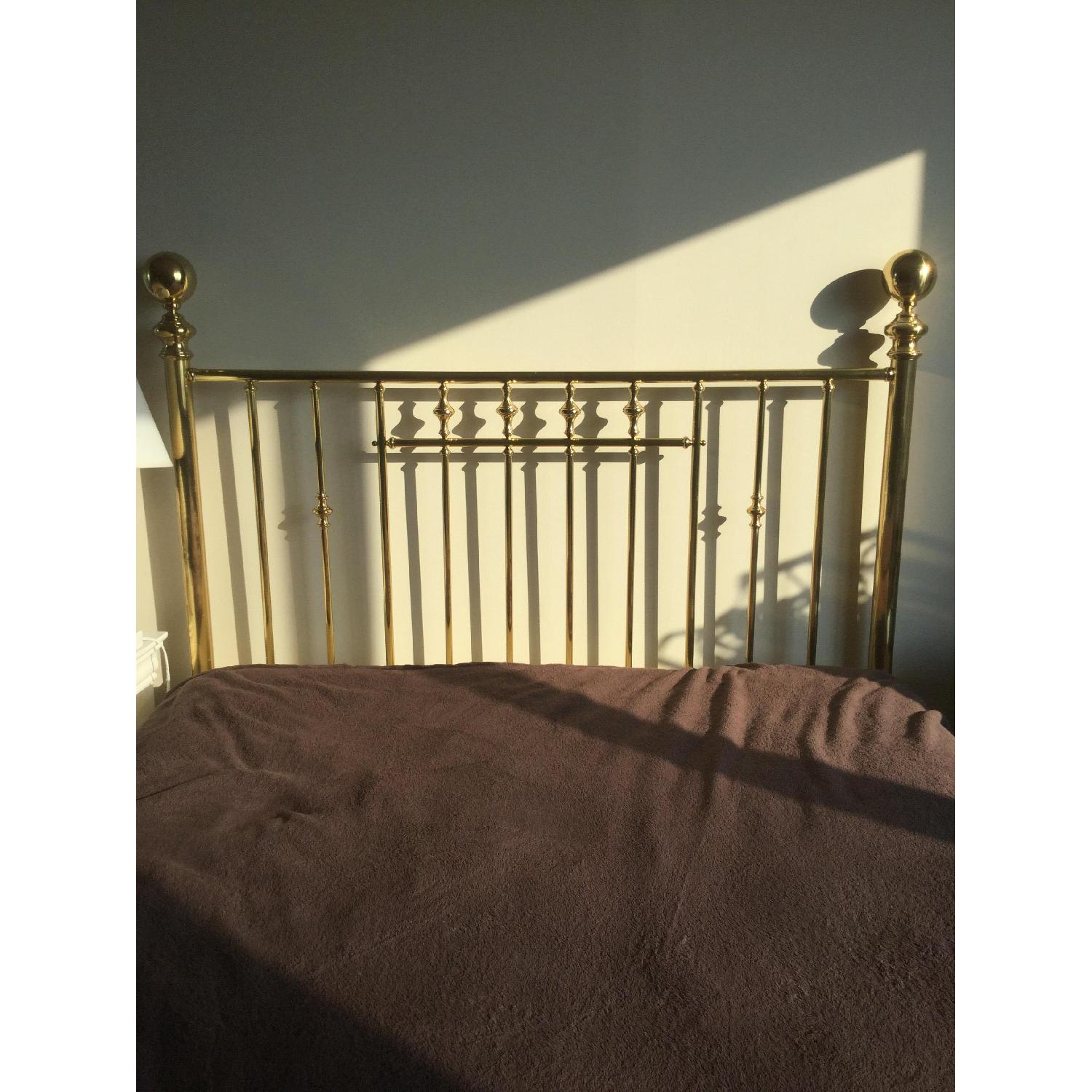 Charles P. Rogers Vintage Brass Queen Size Bed w/ Headboard & Footboard - image-1