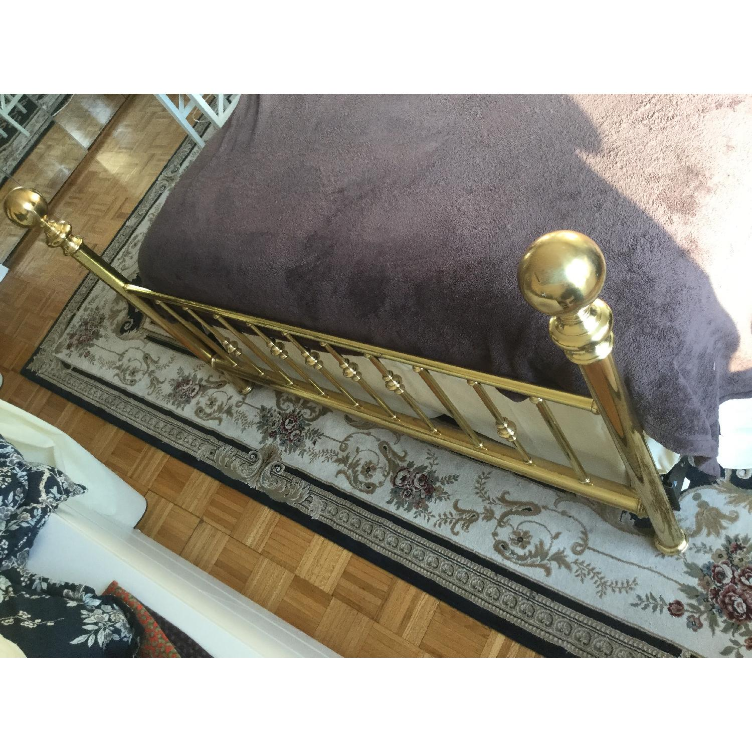 Charles P. Rogers Vintage Brass Queen Size Bed w/ Headboard & Footboard - image-2