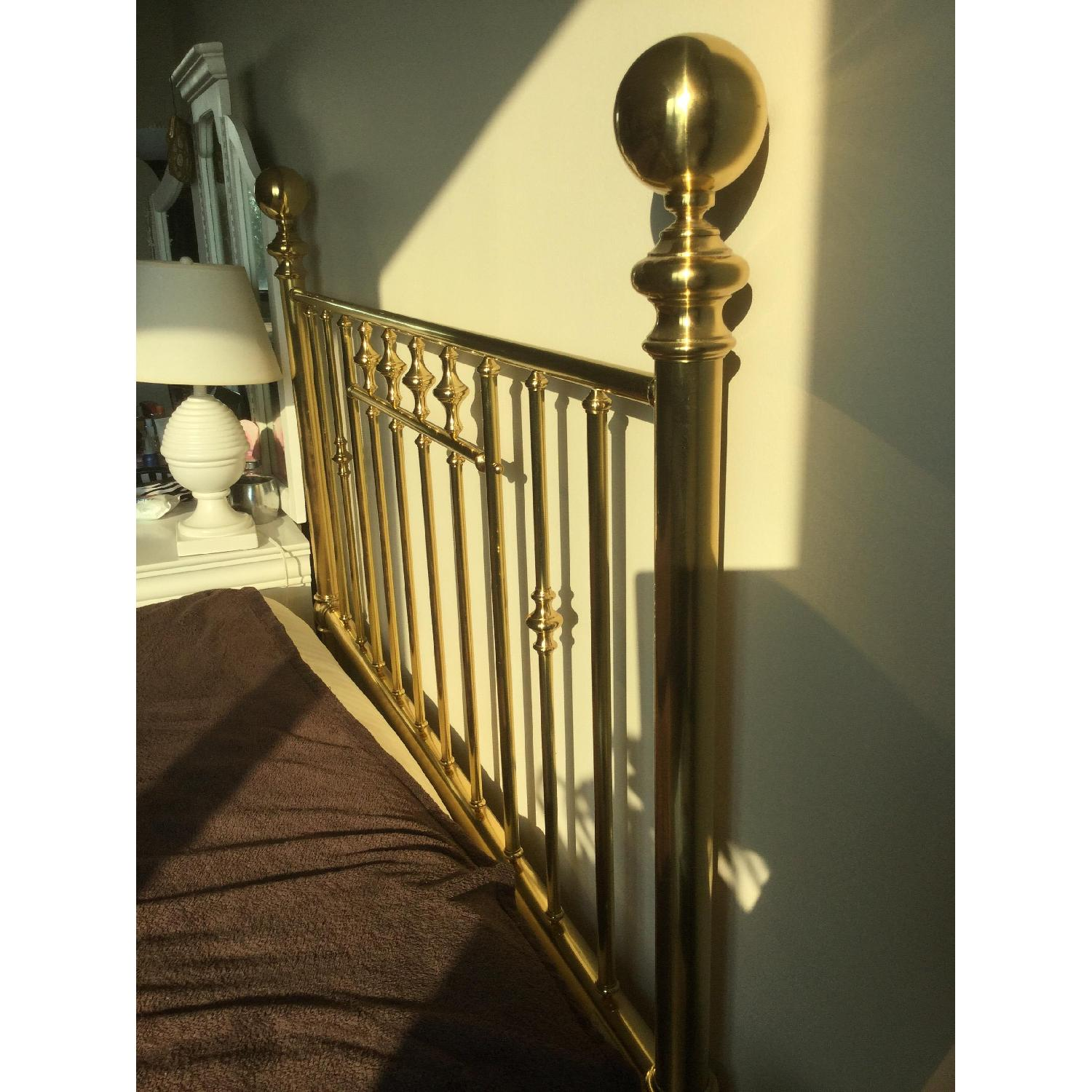 Charles P. Rogers Vintage Brass Queen Size Bed w/ Headboard & Footboard - image-3
