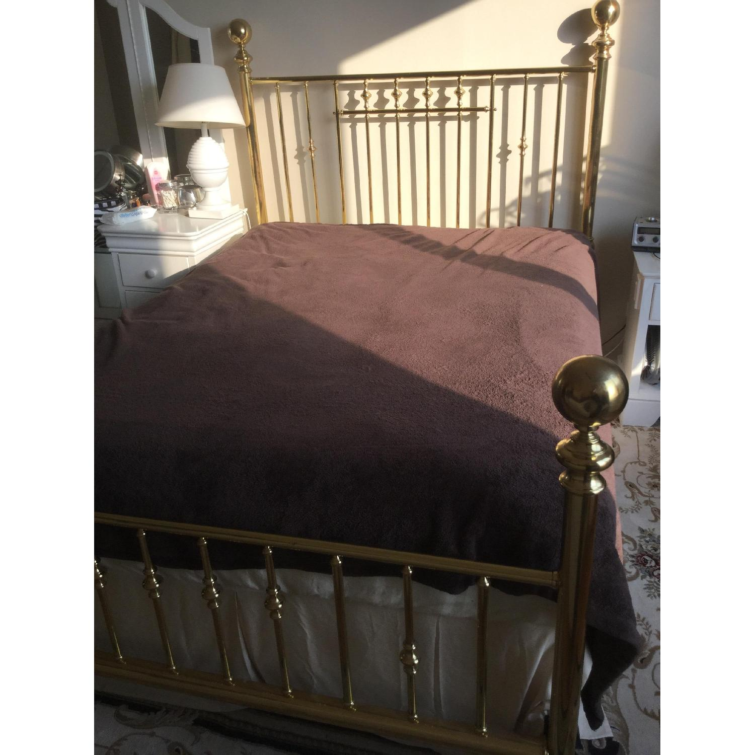 Charles P. Rogers Vintage Brass Queen Size Bed w/ Headboard & Footboard - image-4