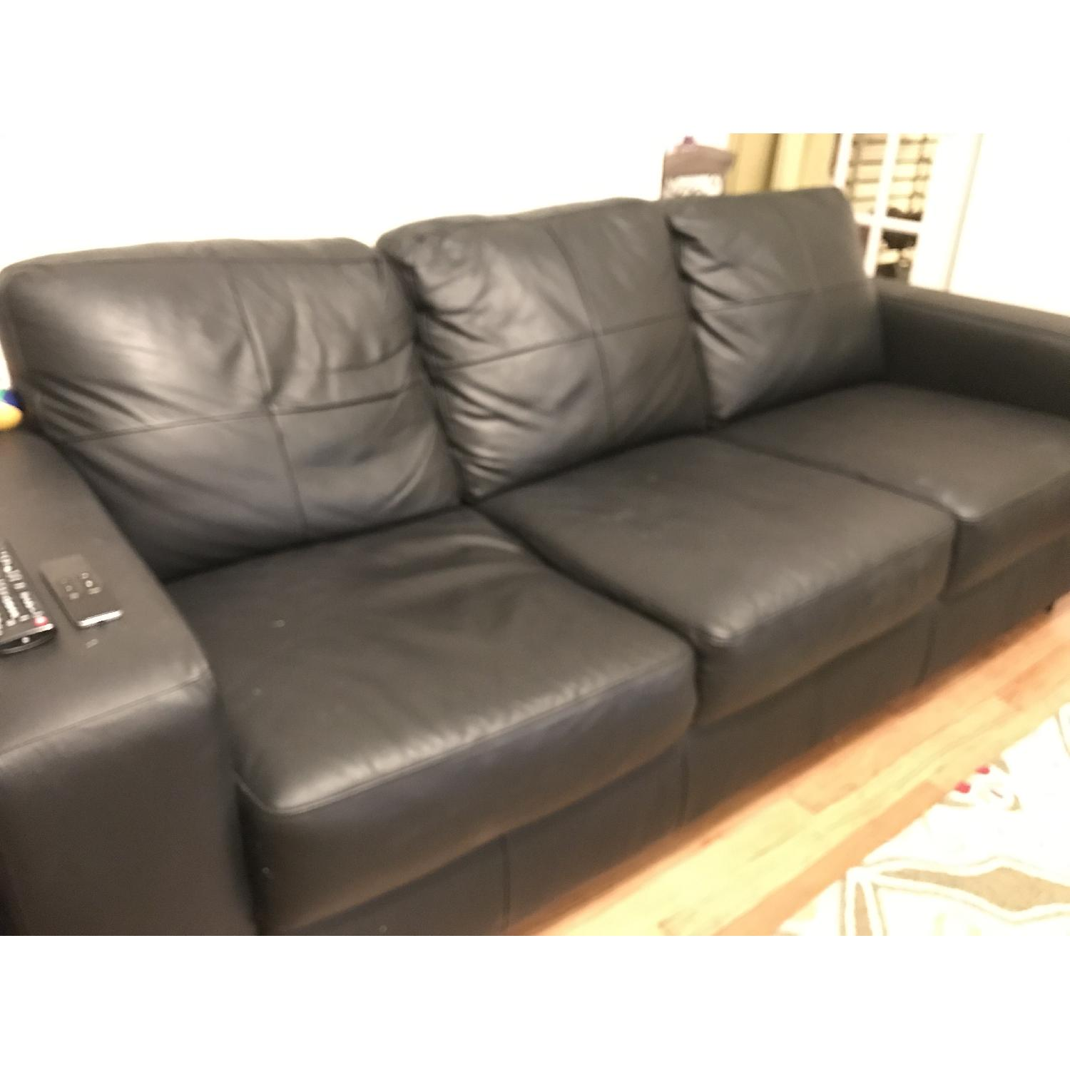 Ikea Skogaby Black Leather Couch - image-0