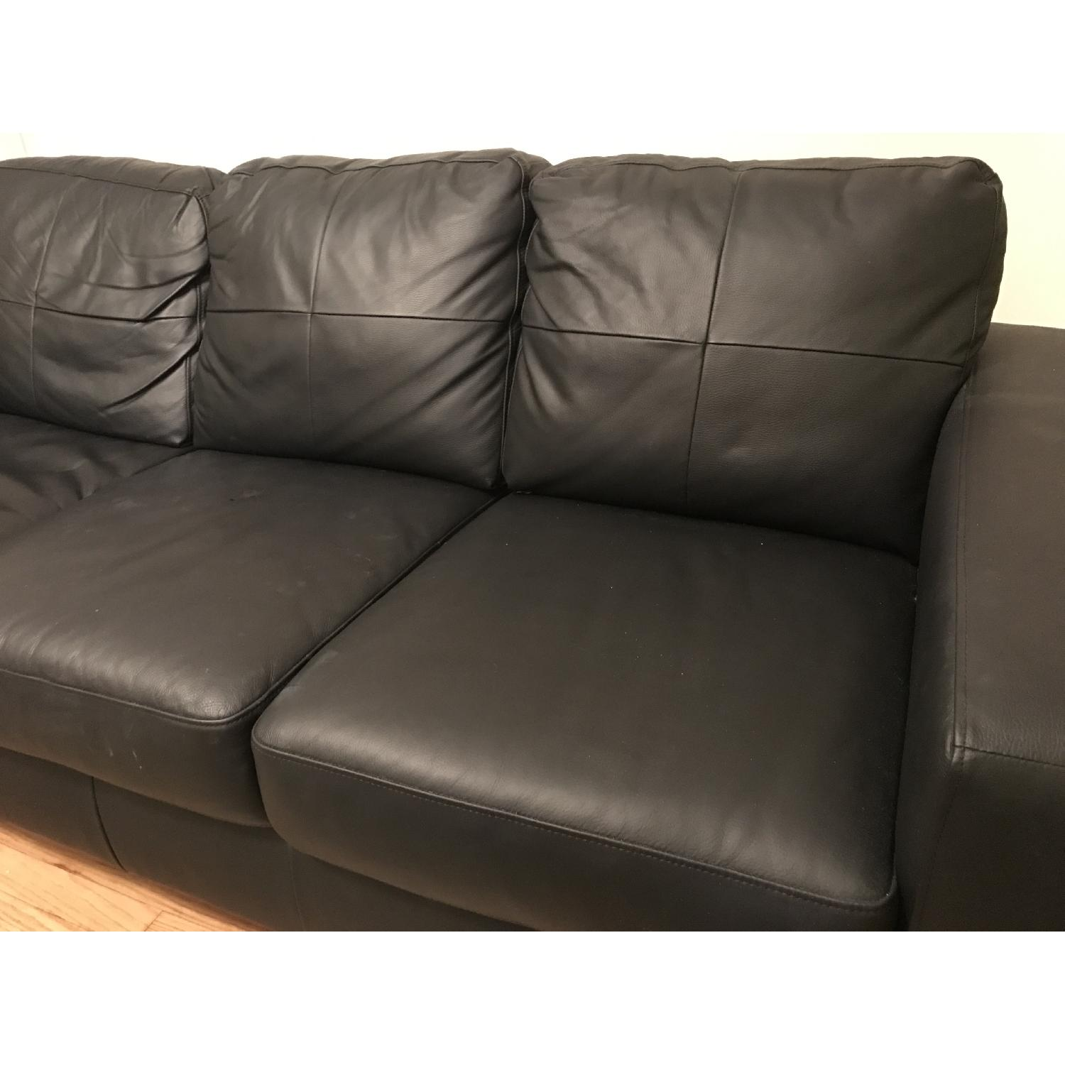 Ikea Skogaby Black Leather Couch - image-2