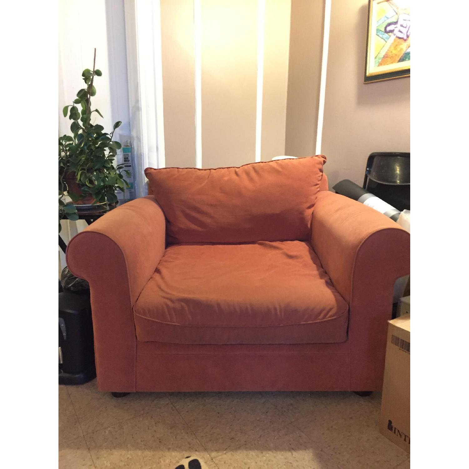 Orange Microsuede Armchair - image-1