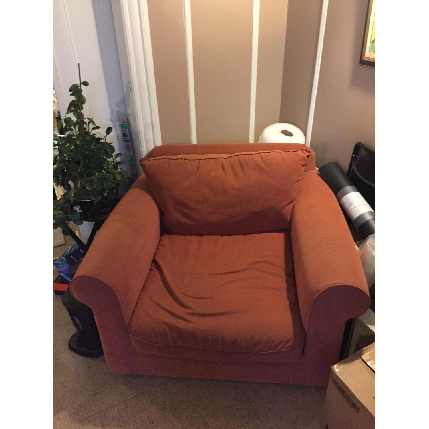 Orange Microsuede Armchair - image-4