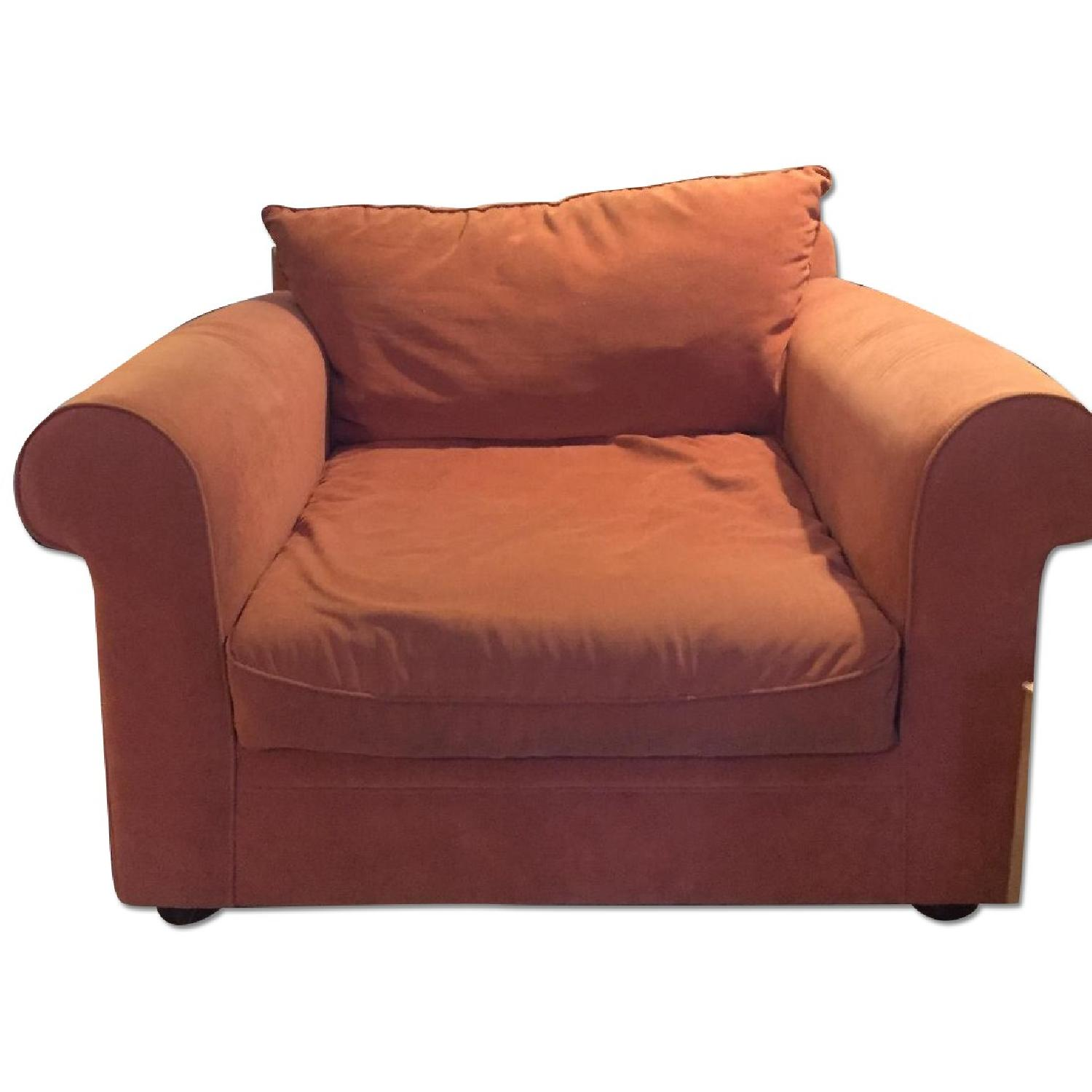 Orange Microsuede Armchair - image-0
