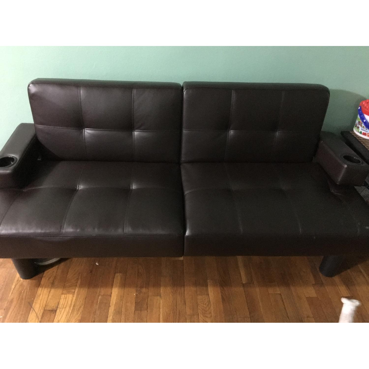 Corner Furniture Leather Sleeper Sofa - image-1
