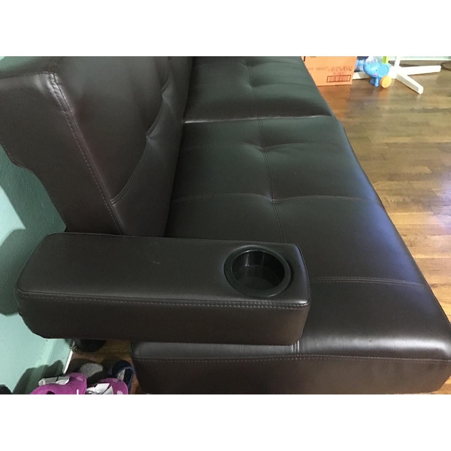 Corner Furniture Leather Sleeper Sofa - image-2
