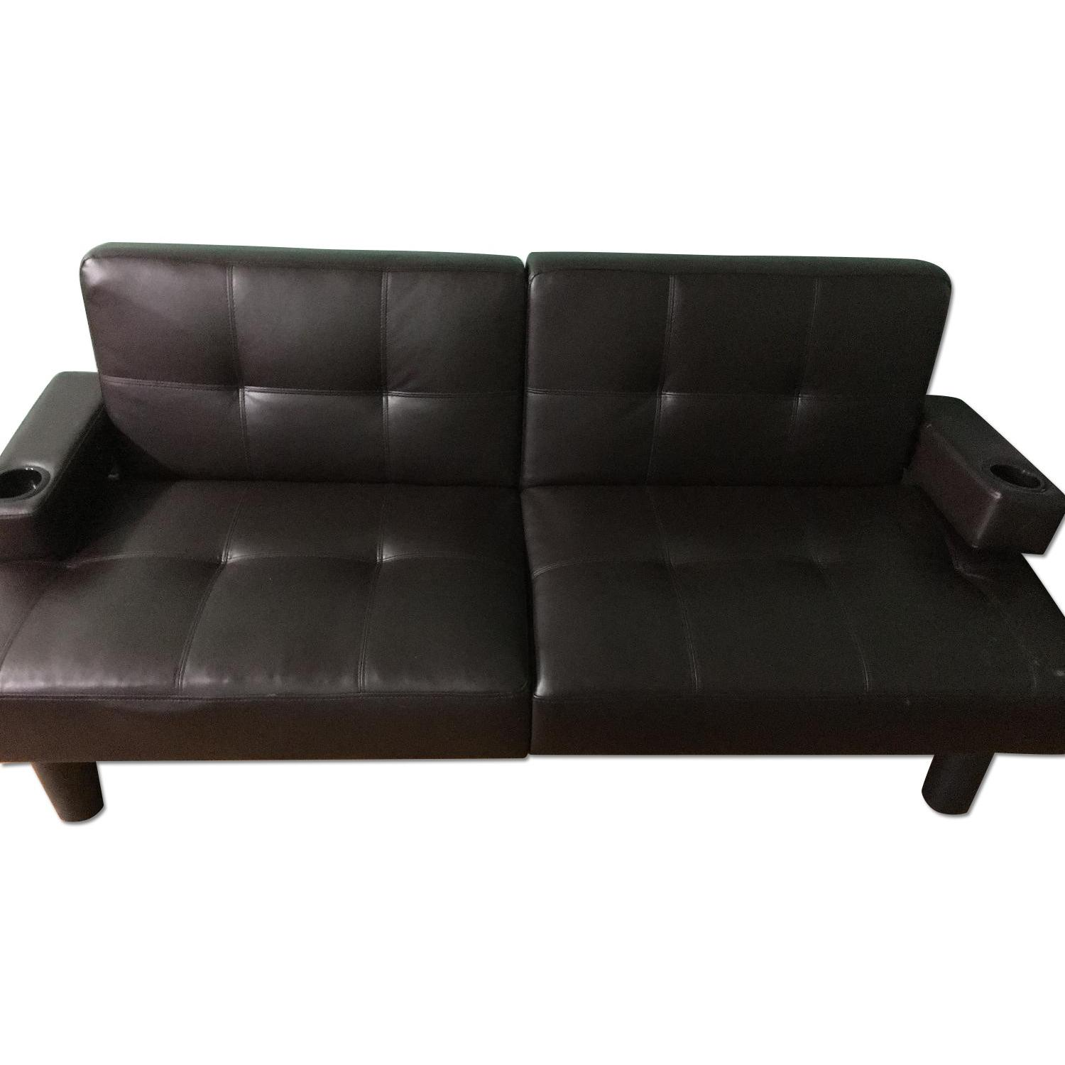 Corner Furniture Leather Sleeper Sofa - image-0