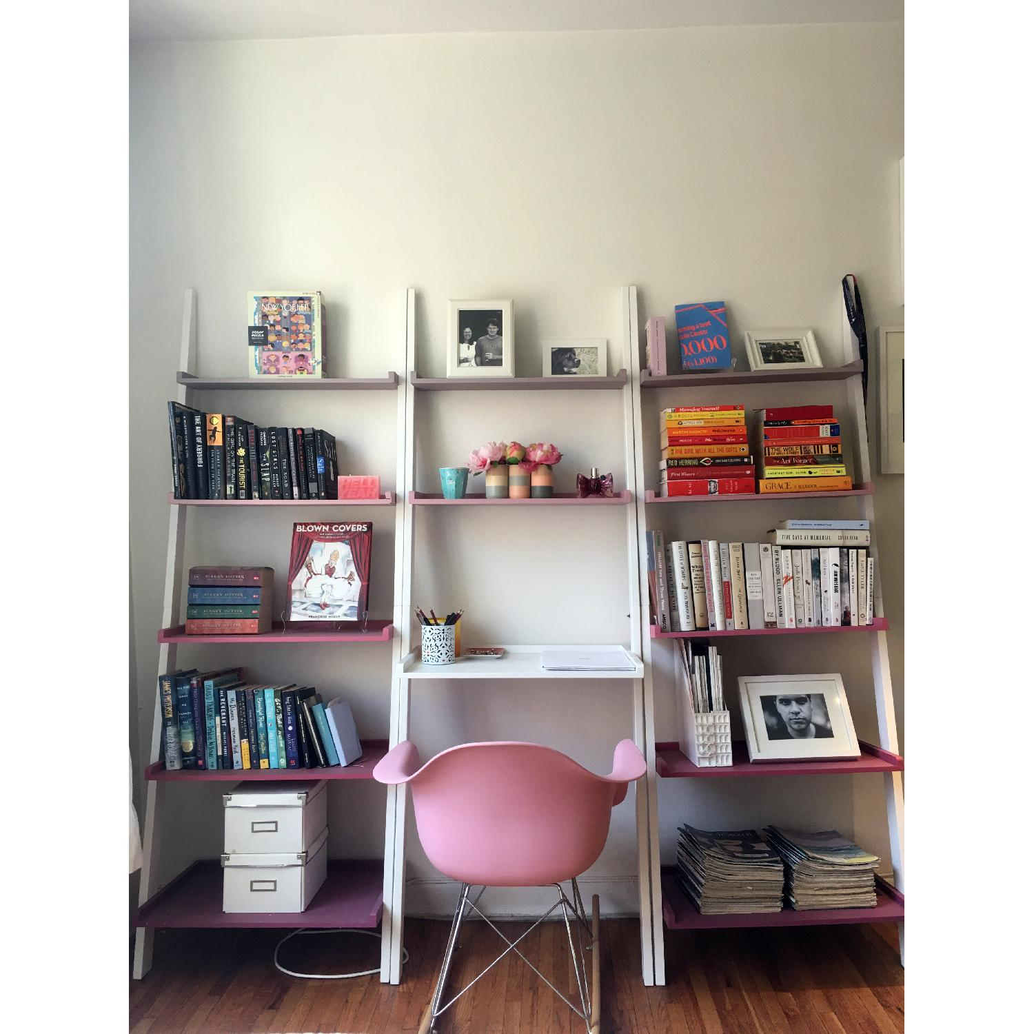 The Container Store Leaning Bookshelves w/ Desk - image-1