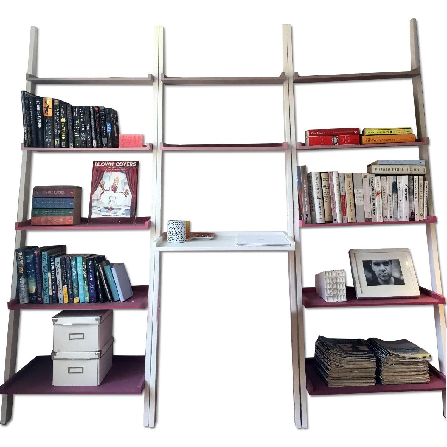 The Container Store Leaning Bookshelves w/ Desk - image-0