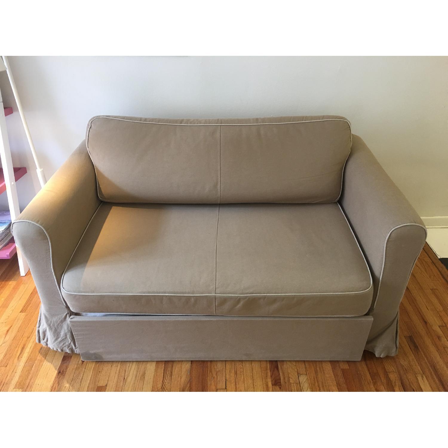 West Elm Beige Fold-Out Couch - image-1