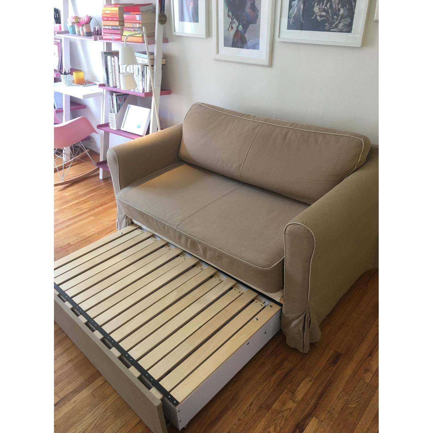 West Elm Beige Fold-Out Couch - image-3