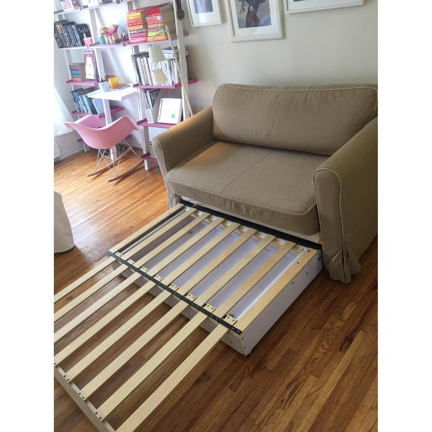 West Elm Beige Fold-Out Couch - image-4
