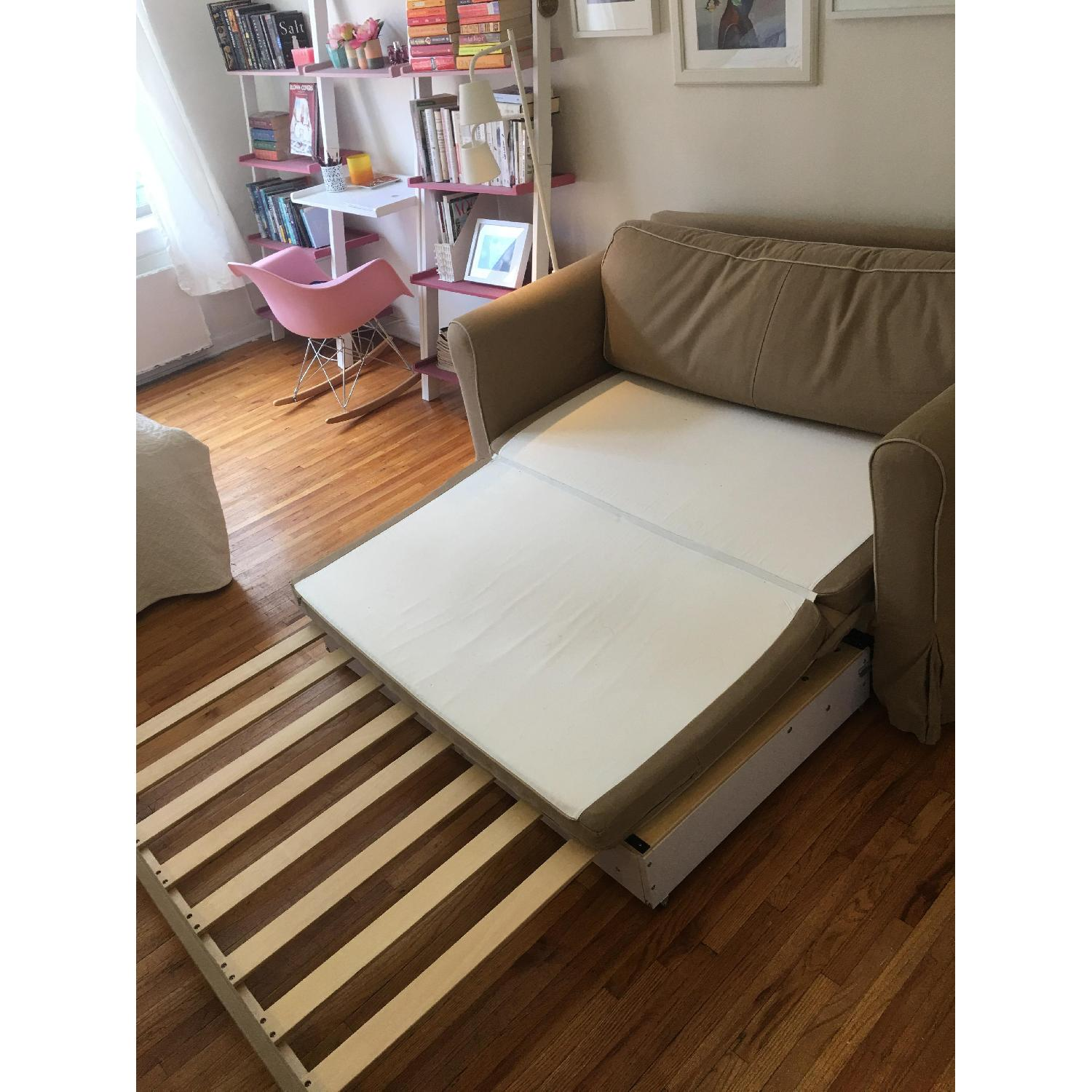 West Elm Beige Fold-Out Couch - image-5