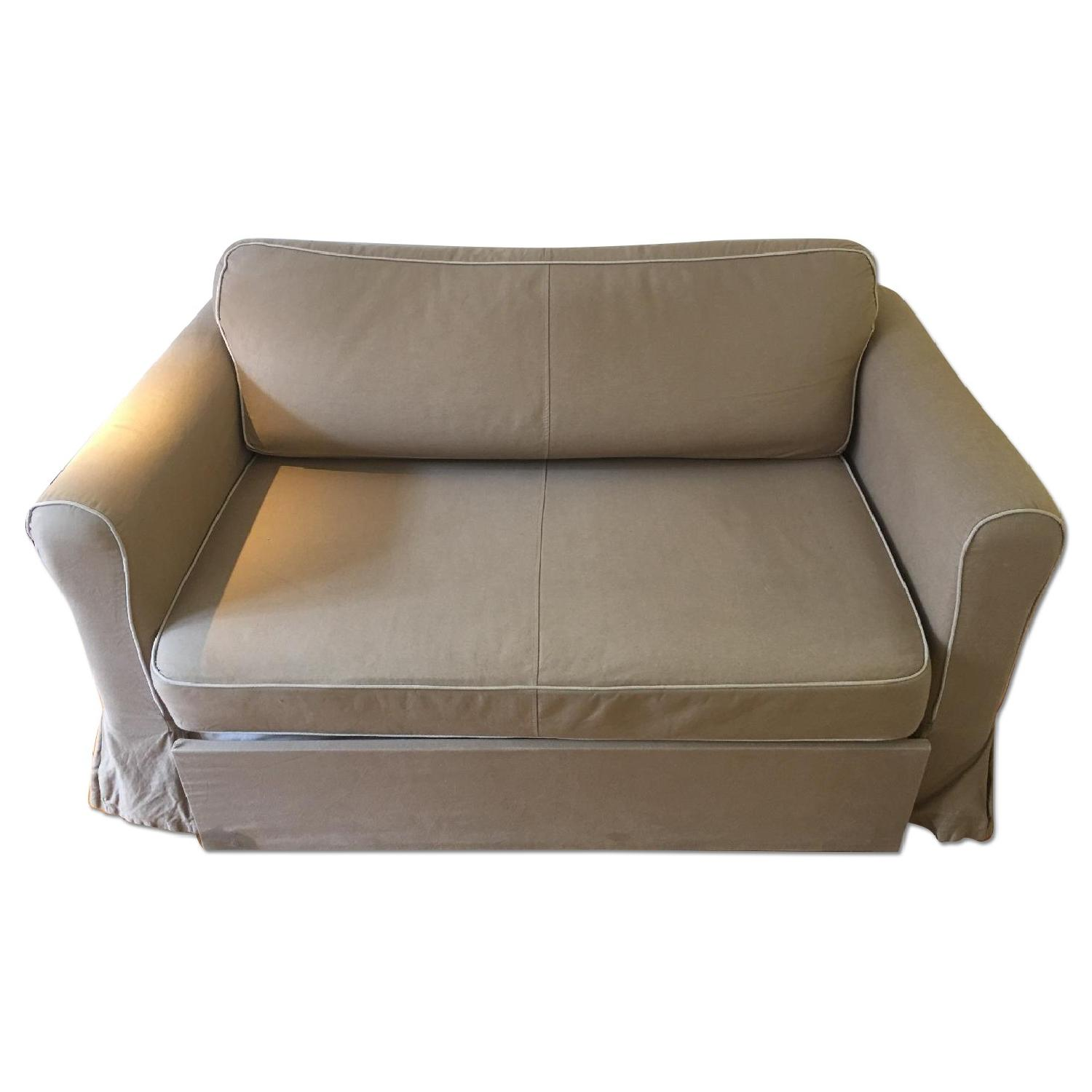 West Elm Beige Fold-Out Couch - image-0