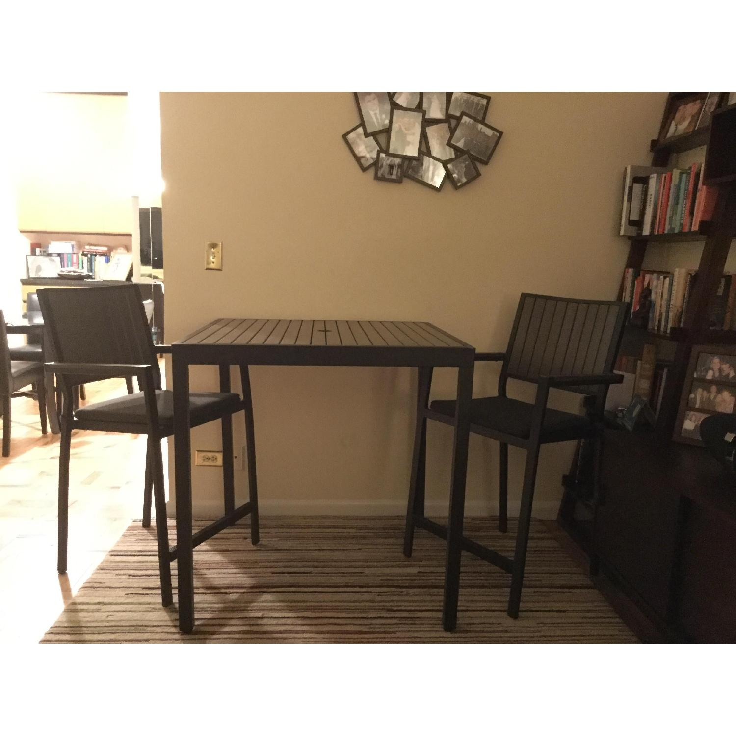 Crate & Barrel Alfresco Home Outdoor Dining Table w/ 2 Chairs - image-1