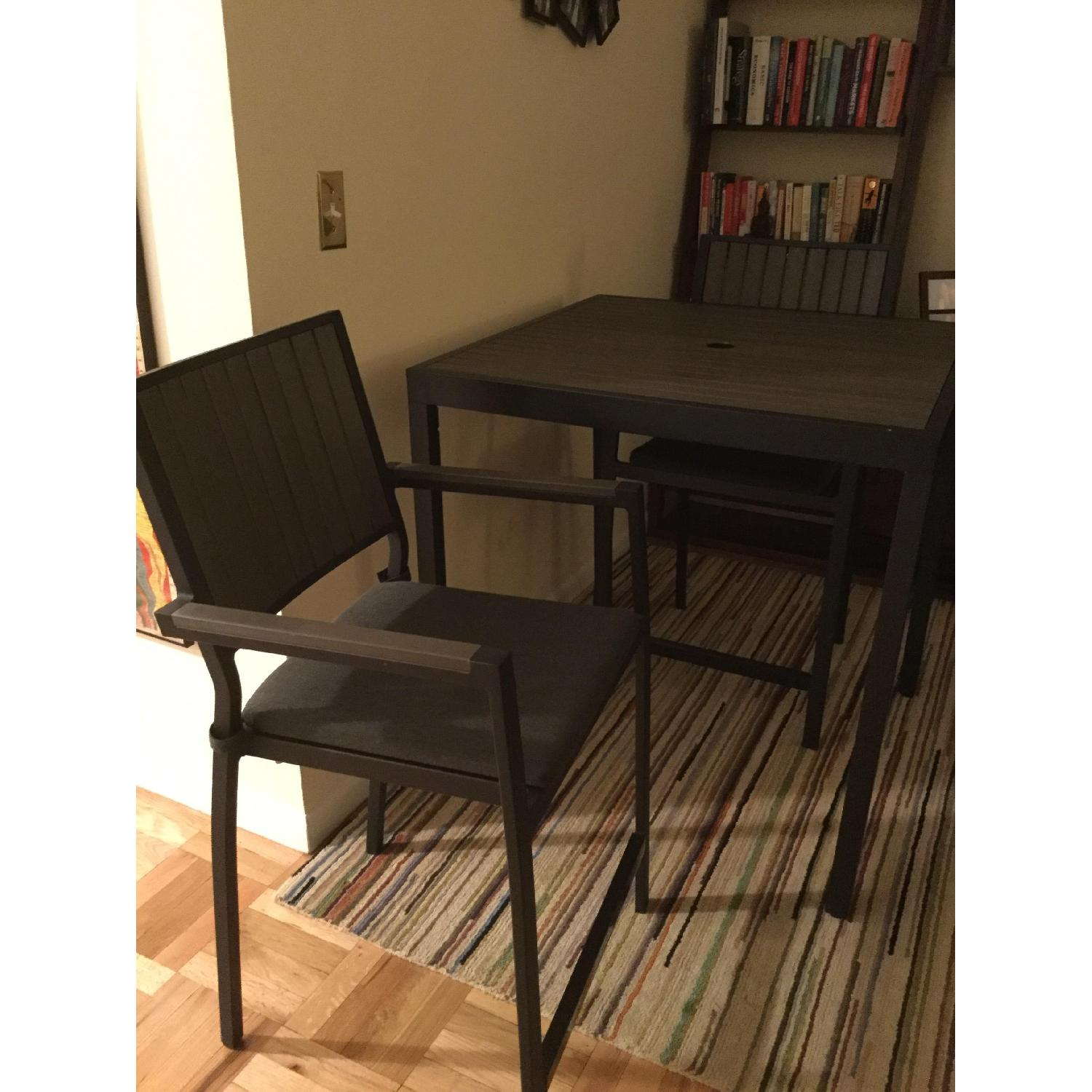 Crate & Barrel Alfresco Home Outdoor Dining Table w/ 2 Chairs - image-3