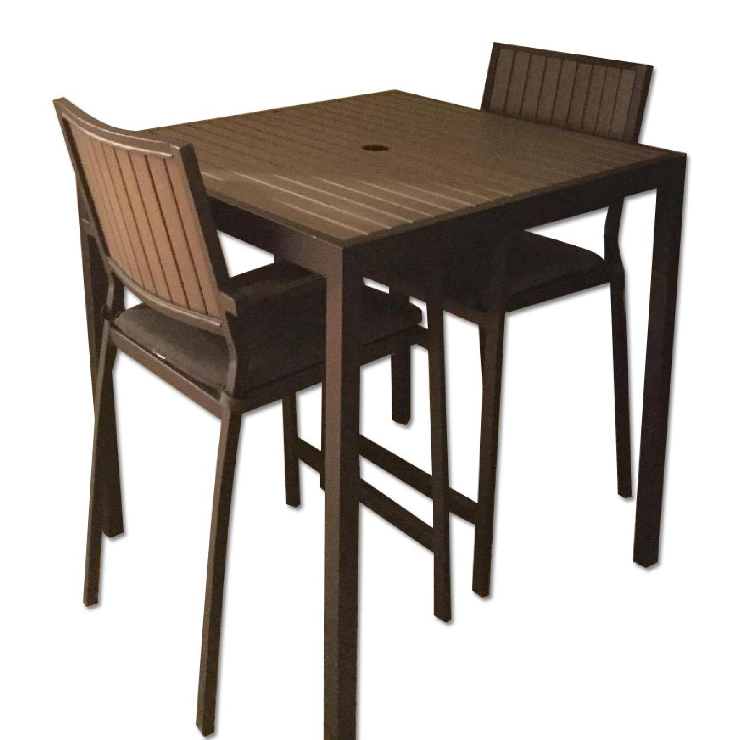 Crate & Barrel Alfresco Home Outdoor Dining Table w/ 2 Chairs - image-0