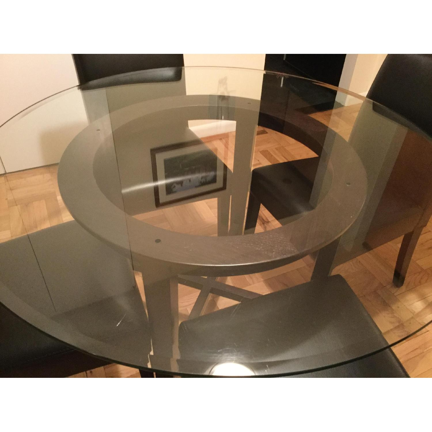 Crate & Barrel Glass Dining Table w/ 4 Black Leather Chairs - image-4