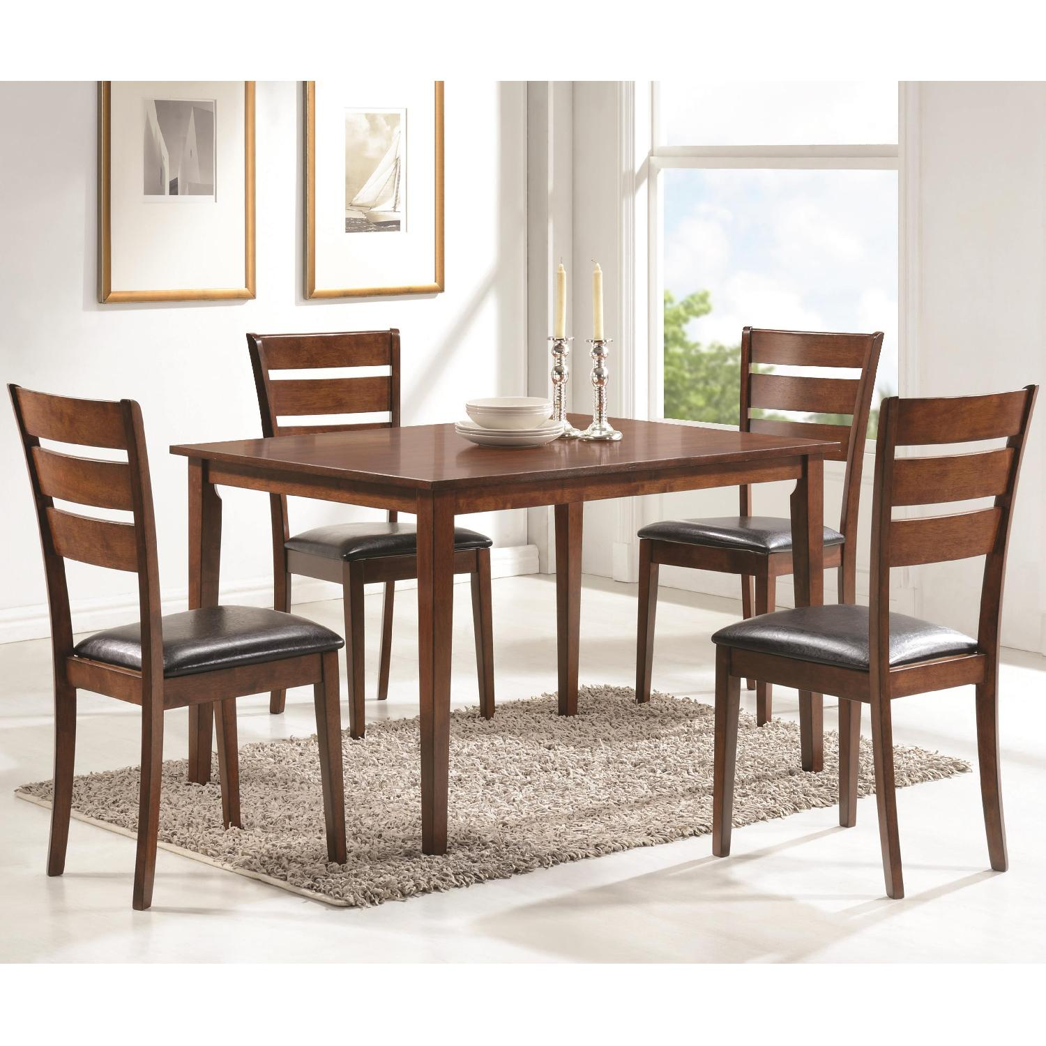5 Piece Dining Set in Medium Warm Brown Finish - image-1