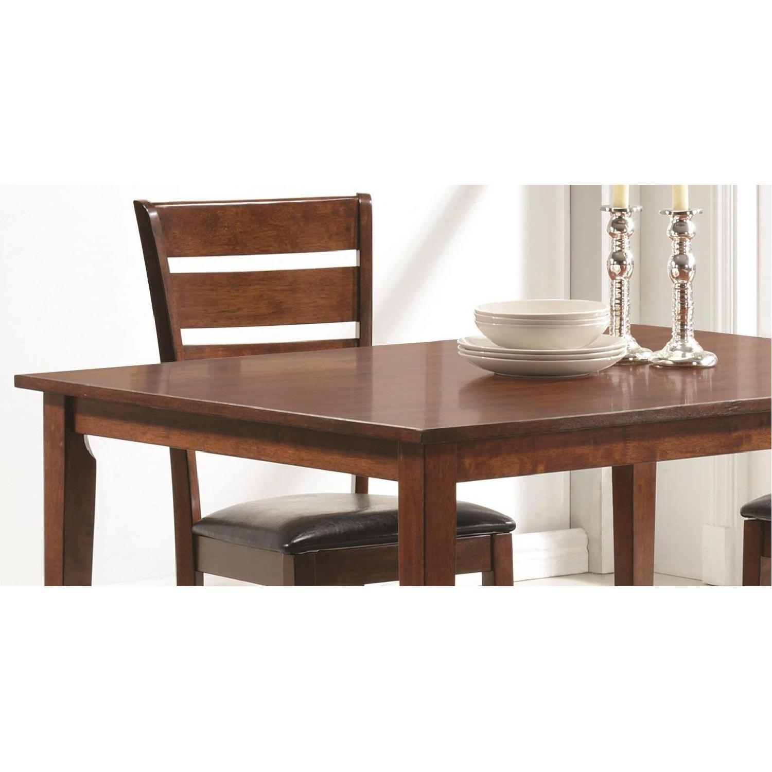 5 Piece Dining Set in Medium Warm Brown Finish - image-2