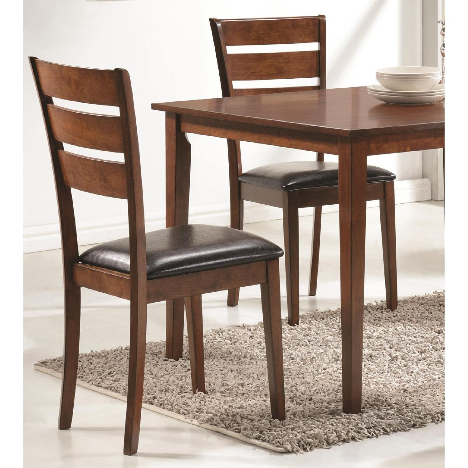 5 Piece Dining Set in Medium Warm Brown Finish - image-3