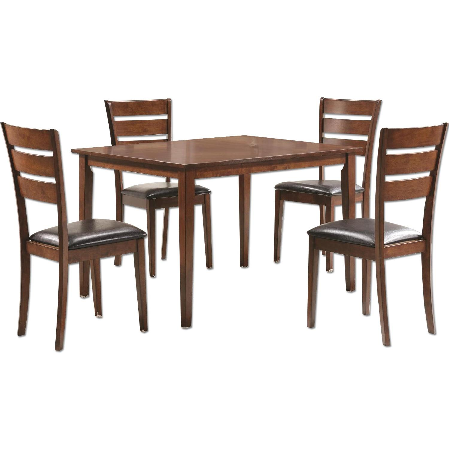 5 Piece Dining Set in Medium Warm Brown Finish - image-0