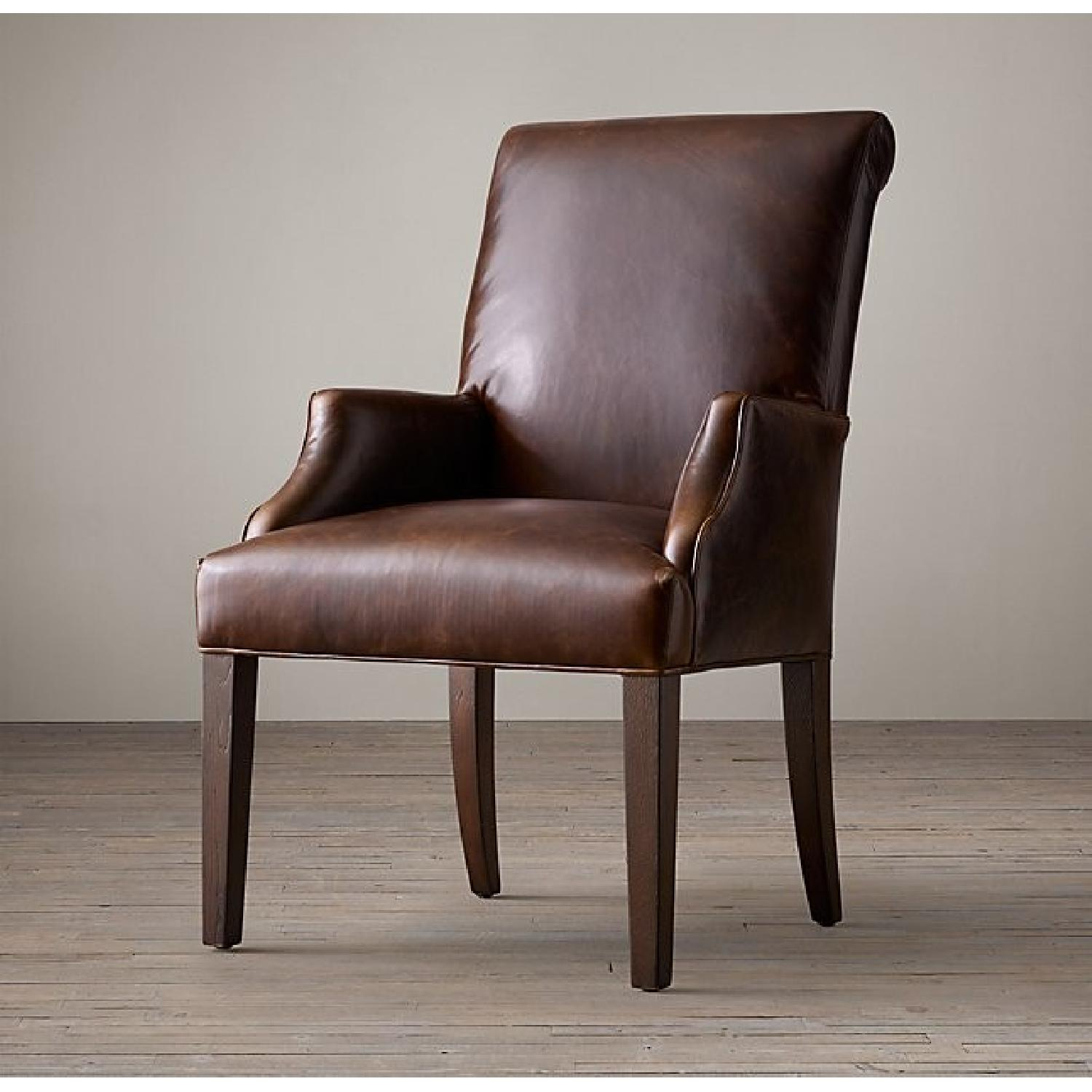 Restoration Hardware Hudson Roll Back Leather Armchair - image-1