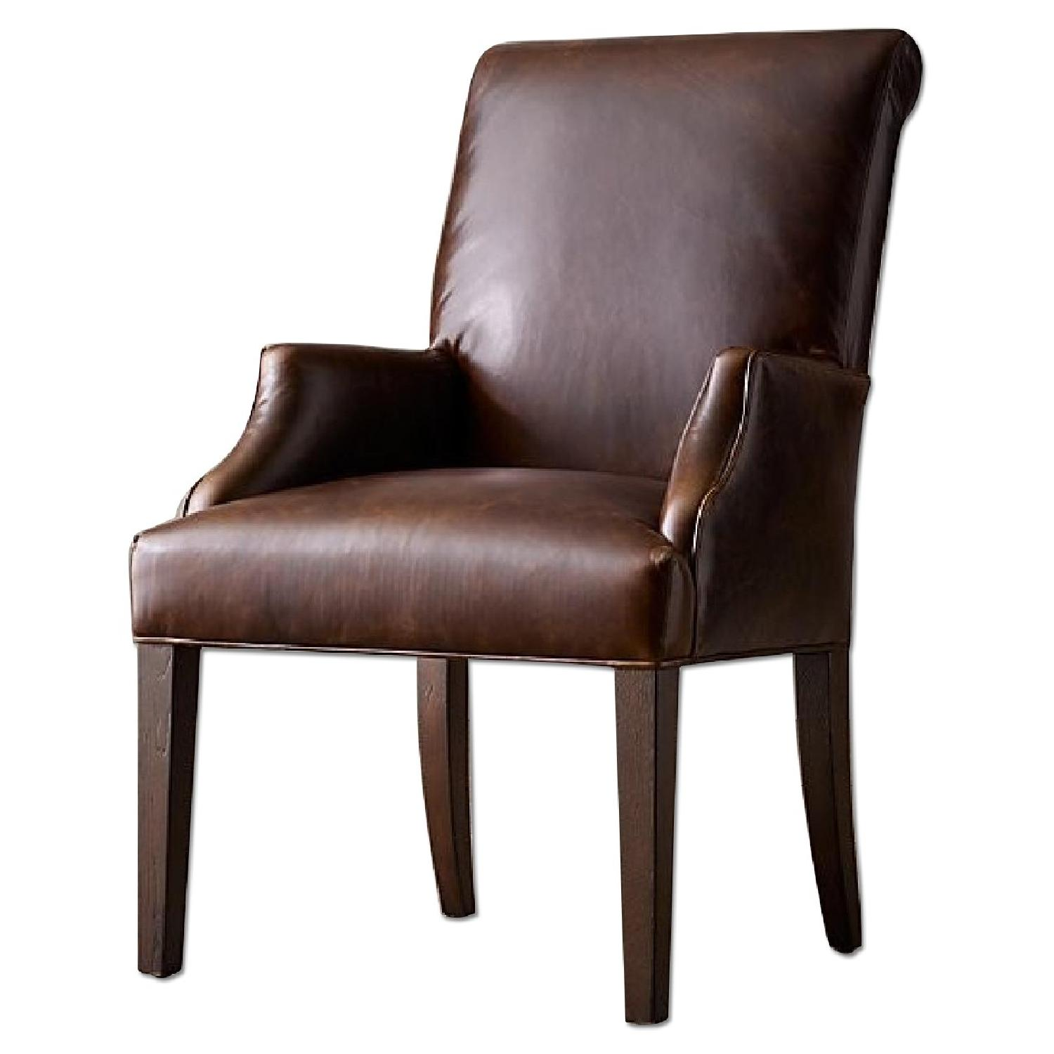 Restoration Hardware Hudson Roll Back Leather Armchair - image-0