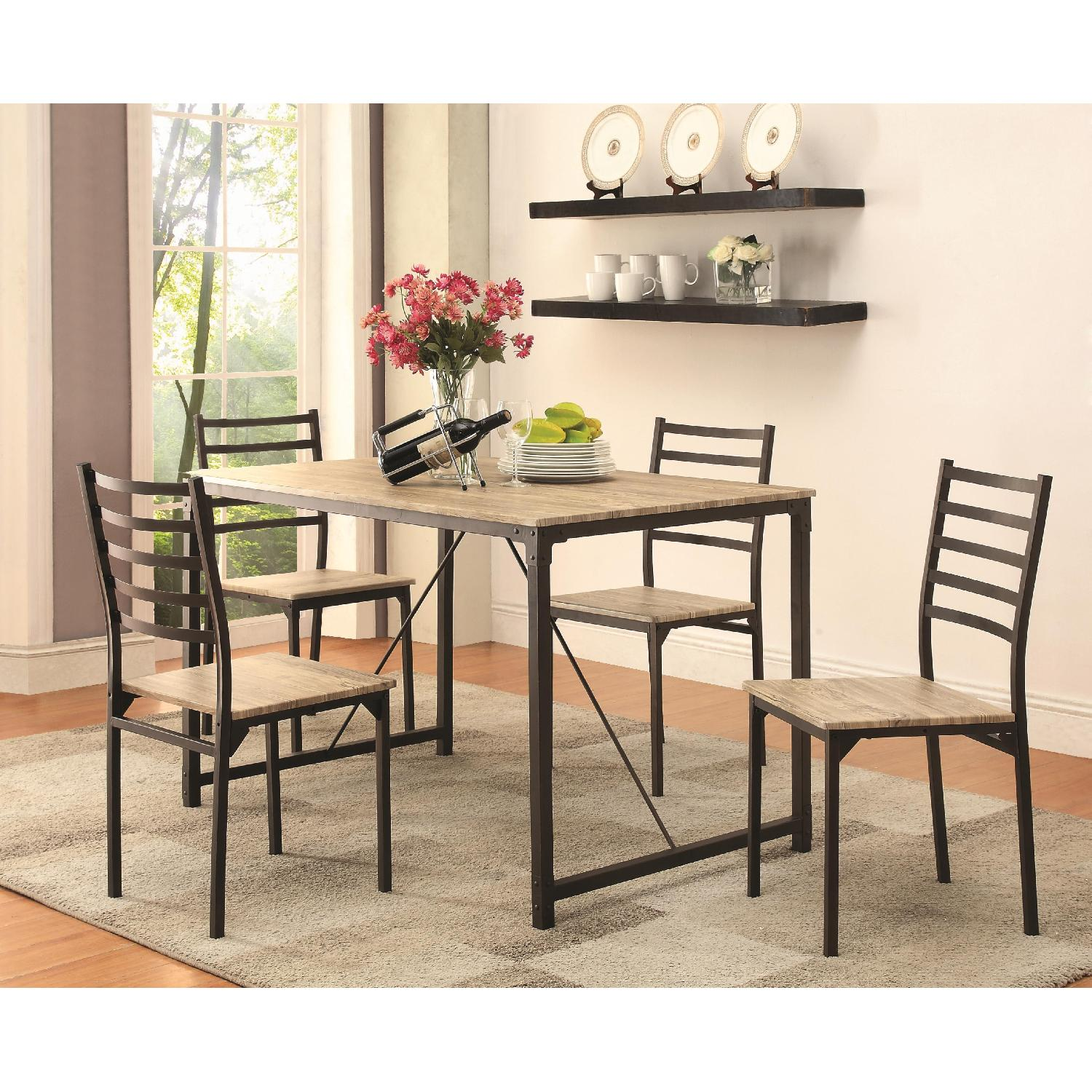 Industrial Design Inspired 5 Piece Rustic Dining Set - image-1