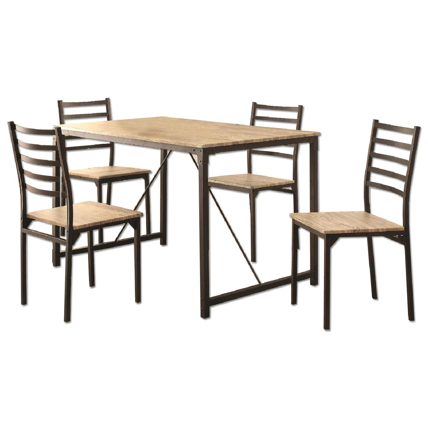 Industrial Design Inspired 5 Piece Rustic Dining Set - image-0