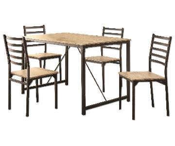 Industrial Design Inspired 5 Piece Rustic Dining Set